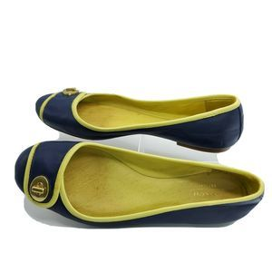 Coach Leather Signature Flats Navy Chartreuse 7.5